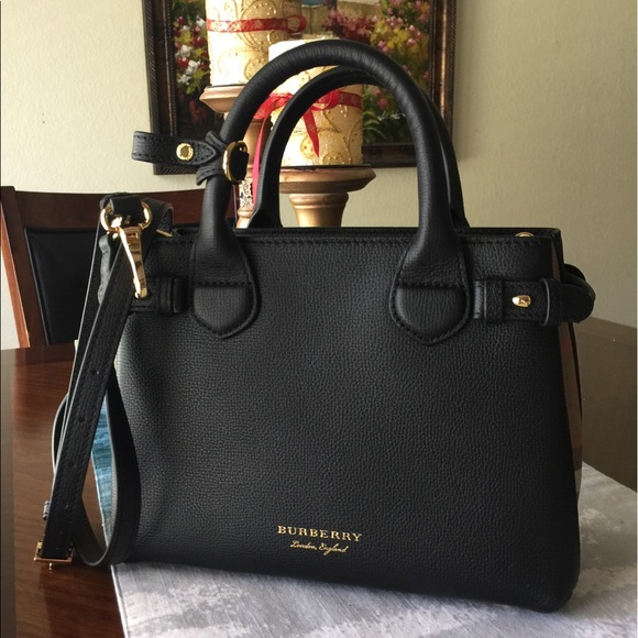Burberry Handbags - 🎉HP✨Burberry Small Banner Black Leather Satchel 87aa8adbbf00e